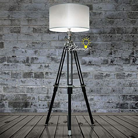 modern industrial floor l industrial heavy metal and black wood tripod fabric floor