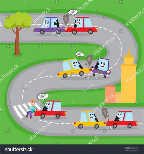 Various Types Road Accidents Funny Car Stock Vector