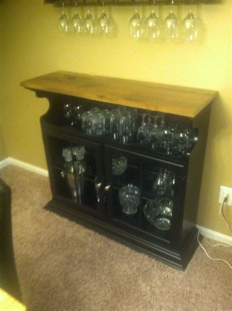 bar cabinet   repurposed hutch top turned upside