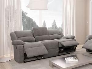 Canapé 3 Places : canap relaxation 3 places microfibre detente usinestreet ~ Louise-bijoux.com Idées de Décoration