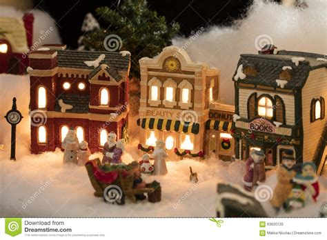 miniature christmas village scene stock image image