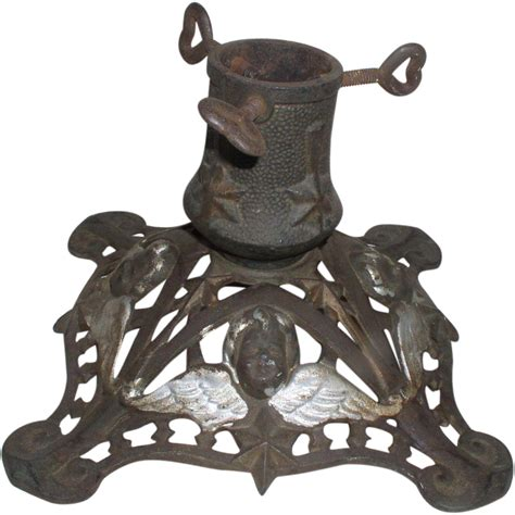 Germany Antique Cast Iron Christmas Tree Stand With Cherub