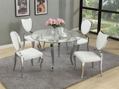 glass dining table with chrome base and modern white
