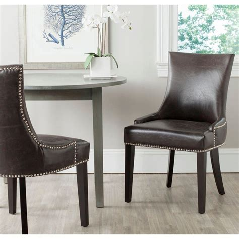 safavieh leather dining chairs safavieh lester antique brown bonded leather dining chair