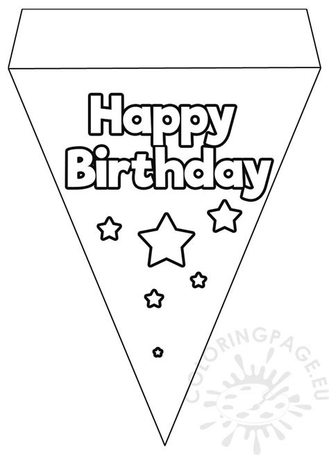 happy birthday flag banner template coloring page