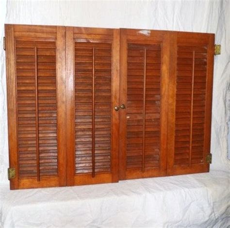 wood louvered interior shutters  pair measuring