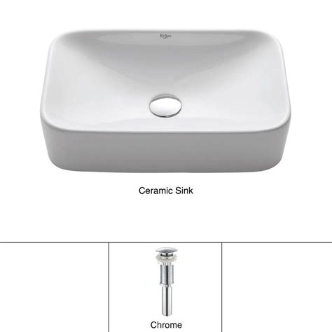 rectangle vessel sink home depot kraus soft rectangular ceramic vessel bathroom sink in