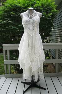 off white alternative bride tattered boho gypsy hippie With recycled wedding dresses