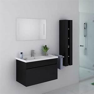 Meuble Salle De Bain Moderne : meuble de salle de bain noir brillant meuble de salle de ~ Nature-et-papiers.com Idées de Décoration