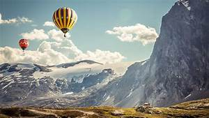 hot, air, balloons, , clouds, , snow, , cliff, , nature, , black, , mountain, wallpapers, hd, , , , desktop, and