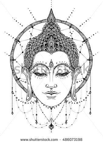 Buddha face over dreamcatcher round pattern. Esoteric vintage vector illustration. Indian