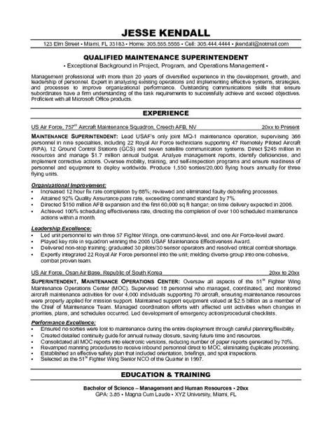 mechanical superintendent resume templates exle maintenance superintendent resume sle