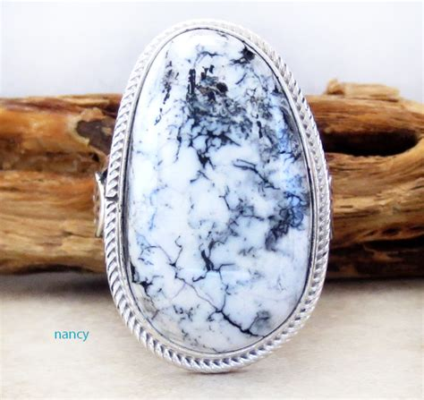 white buffalo stone sterling silver ring size  navajo