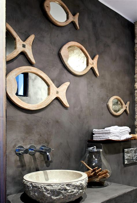 bathroom mirror set  fish   sea interior design