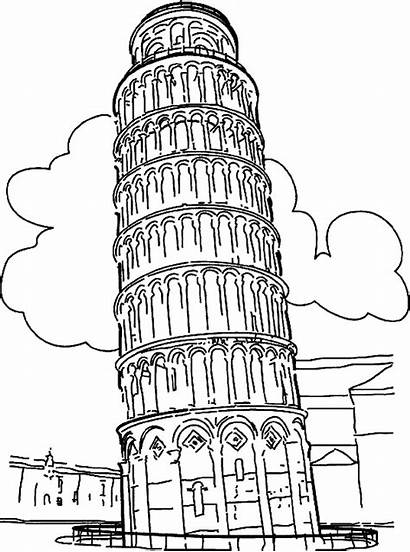 Coloring Italy Landmark Tower Pages Historical Pisa