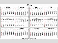 6 Best Images of 2016 Calendar Printable Week Number