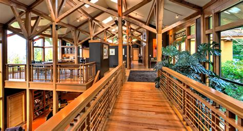 wood-railing-designs-Hall-Contemporary-with-bridge-catwalk