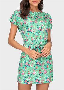 Floral Short Sleeve O Neck Casual Mini Dress Fairyseason