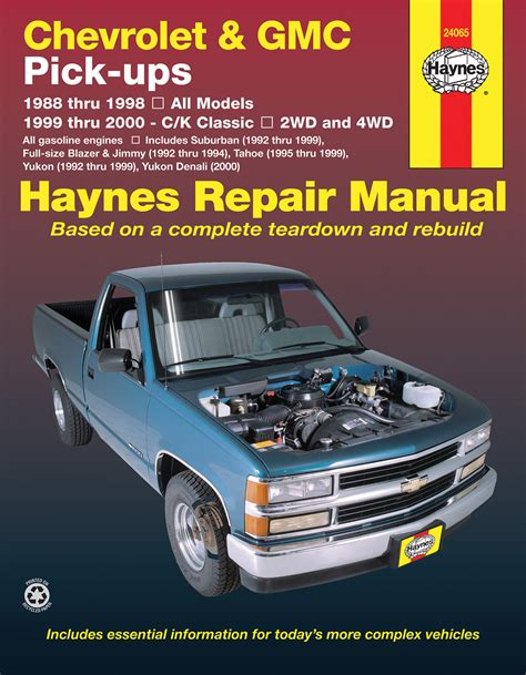 car repair manuals online free 1995 gmc suburban 1500 parental controls chevrolet gmc full size gas pick ups 88 98 c k classics 99 00 haynes repair manual