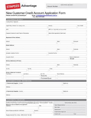 staples  customer credit account application formedit