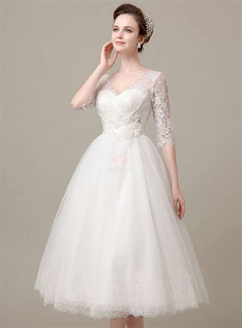ankle wedding dress a line ankle length tulle lace wedding dress