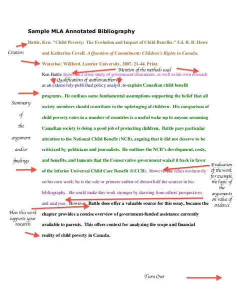 mla annotated bibliography template sle mla annotated bibliography