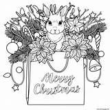 Christmas Coloring Rabbit Tree Light Bag Pages Printable sketch template