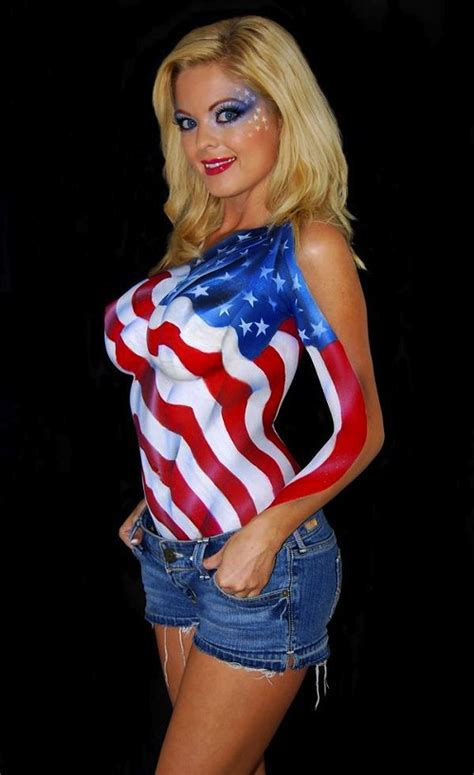 Sexy Nude Babes Body Paint Flag America On Hot Body Painting Woman Girls Tattooisme