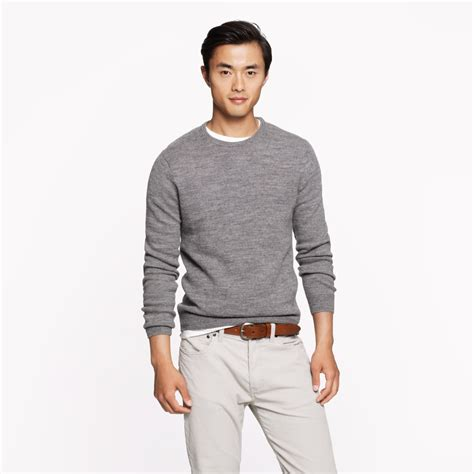 mens patch sweater j crew rustic merino patch sweater in gray for