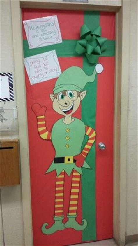 elf and present school door decoration christmas fun
