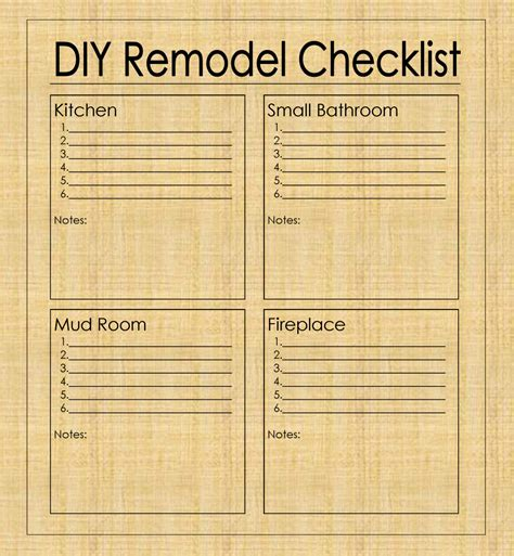 Diy To Do List Template by Diy Remodel Checklist