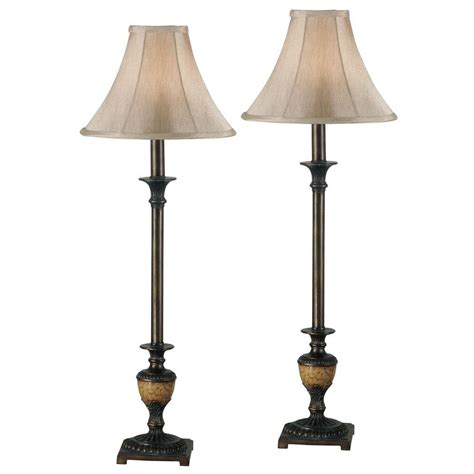 Kenroy Home Emily 30 In Crackled Bronze Buffet Lamp Set