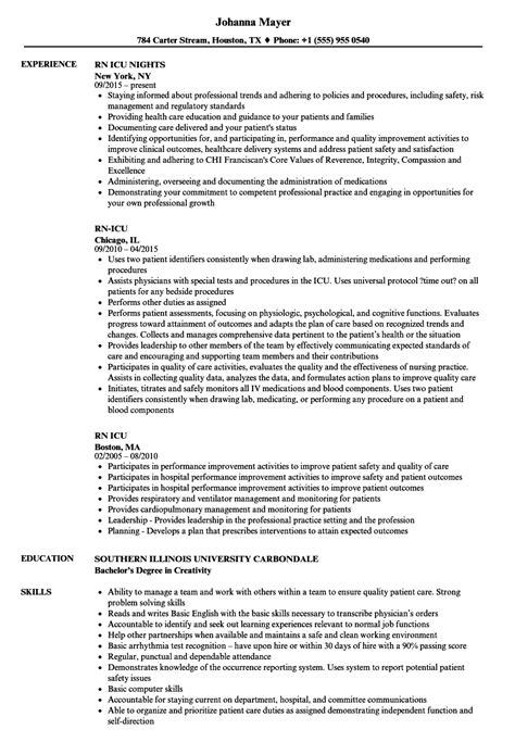 Icu Rn Resume by Rn Icu Resume Sles Velvet
