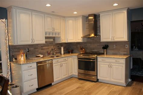 kitchen with granite backsplash kitchen view grey brushed tile 6513