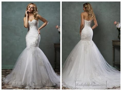 Strapless Sweetheart Embroidered Bodice Mermaid Wedding
