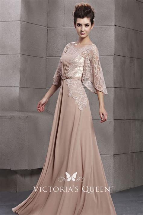 elegant nude flutter sleeve   long chiffon  lace
