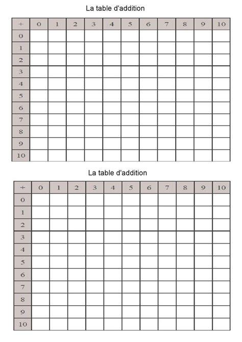 d and d table tableau vierge de la table d 39 addition idee flo école