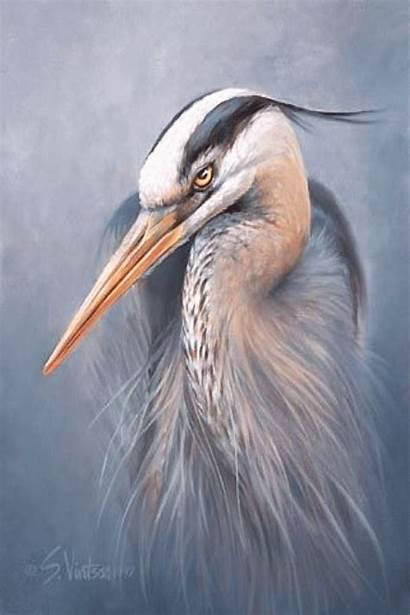Heron Painting Animals Being Spirit Egret Symbolize