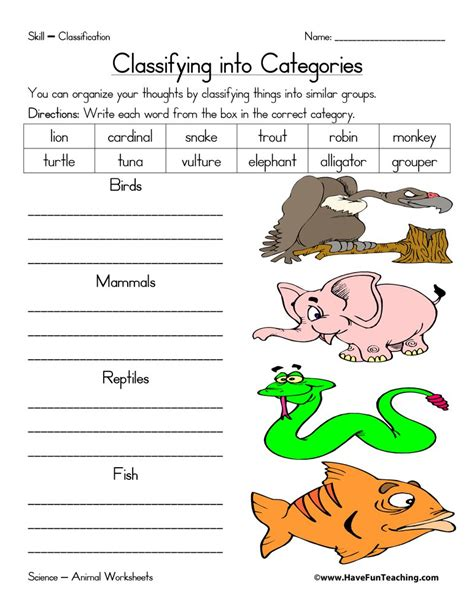 animal classification worksheet have fun teaching