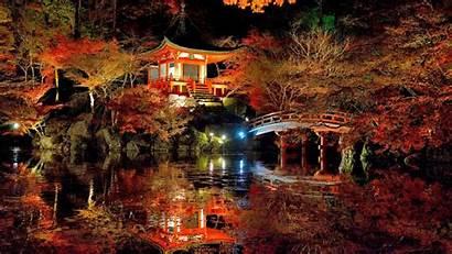 Japanese Garden Pond Fall Pagoda Reflected Tree