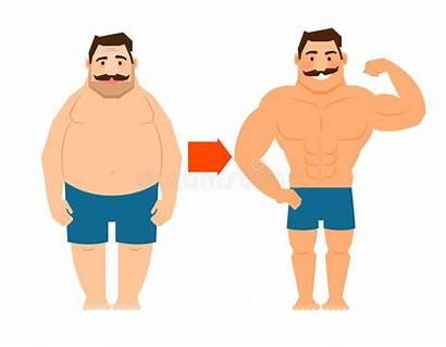 Fat Slim Mustache Pack Six Abs Illustration