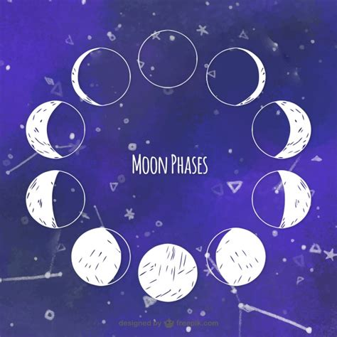 Moon Phases Background Watercolor Background With Moon Phases Vector Free