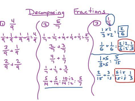 decomposing fractions math elementary math math
