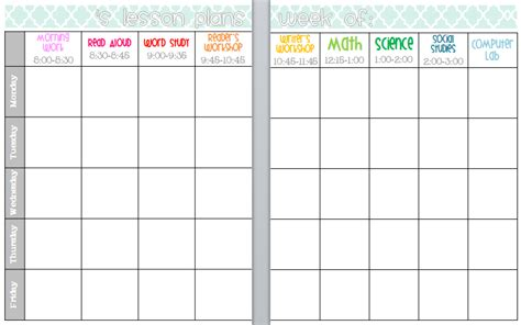 elementary organization  updated lesson plan templates