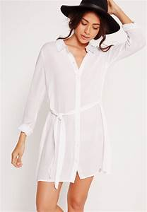Missguided Cheesecloth Shirt Dress White in White | Lyst