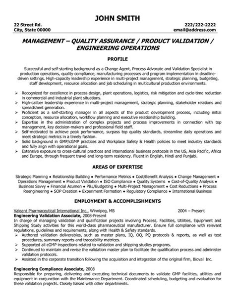 Resume Format For Quality Assurance by Quality Assurance Management Resume Sle Template