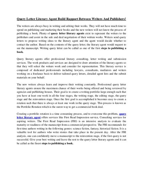 exles of query letters query letter literary build rapport between writers 4944