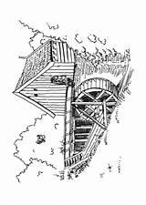 Coloring Mill Windmills Watermill Windmolens Windmill Adults Adult Kleurplaten Designlooter Visit sketch template