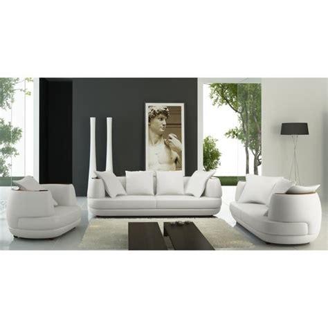 canapé 2 places blanc ensemble canapé 3 2 1 places en cuir blanc ryga achat