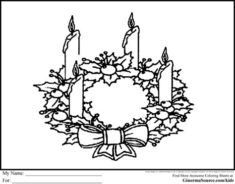 Advent Coloring Page Wreath Ginormasource Kids